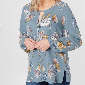 Daytrip Buckle Textured Blue Floral Blouse XS